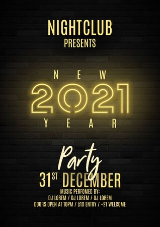 2021 Happy New Year party poster. Realistic bright neon number on brick wall. Concept of holiday banner with glowing text. Vector illustration. Invitation to nightclub. Zdjęcie Seryjne - 149433667