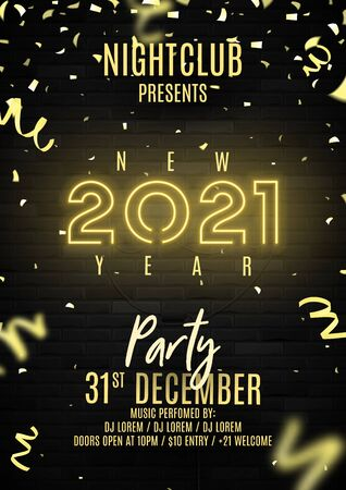 2021 Happy New Year party flyer. Realistic bright neon number on brick wall. Concept of holiday banner with glowing text. Vector illustration with confetti and serpentine. Invitation to nightclub.