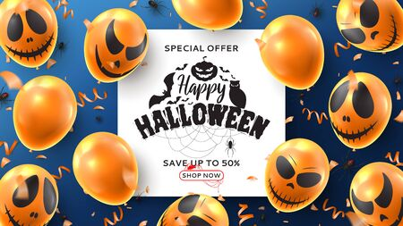 Happy Halloween sale banner. Vector illustration realistic orange balloons with scary smiles and black spiders on blue background. Halloween sale background with serpentine and confetti. Ilustracja