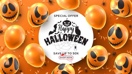 Happy Halloween sale promo banner. Vector illustration realistic orange balloons with scary smiles and black spiders on orange background. Halloween sale background with serpentine and confetti.