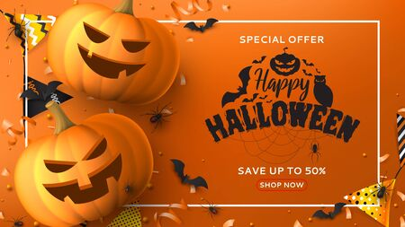 Halloween sale horizontal banner. Holiday promo banner with black spiders and bats, scary pumpkins, colorful garlands, serpentine and confetti on orange background. Vector illustration.