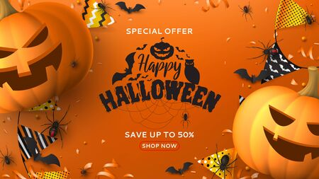 Happy Halloween sale promotion banner. Holiday promo banner with black spiders and bats, scary pumpkins, colorful garlands, serpentine and confetti on orange background. Vector illustration.