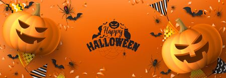 Happy Halloween festive banner. Holiday banner with black spiders and bats, scary pumpkins, colorful garlands, serpentine and confetti on orange background. Vector illustration. Zdjęcie Seryjne - 149388810