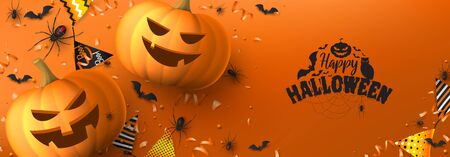 Happy Halloween holiday banner. Festive banner with black spiders and bats, scary pumpkins, colorful garlands, serpentine and confetti on orange background. Vector illustration. Ilustracja