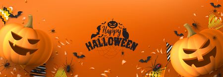 Happy Halloween greeting banner. Festive banner with black spiders and bats, scary pumpkins, colorful garlands, serpentine and confetti on orange background. Holiday vector illustration. Ilustracja