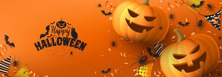 Happy Halloween festive background. Festive banner with black spiders and bats, scary pumpkins, colorful garlands, serpentine and confetti on orange background. Holiday vector illustration. Zdjęcie Seryjne - 149389896