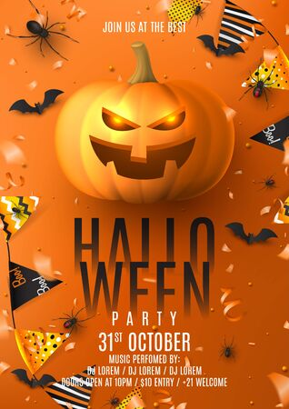 Happy Halloween party poster. Holiday promo banner with black spiders and bats, scary pumpkin, colorful garlands, serpentine and confetti on orange background. Invitation to nightclub. Ilustracja
