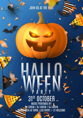 Happy Halloween party flyer. Holiday poster with black spiders and bats, scary pumpkin, colorful garlands, serpentine and confetti on dark blue background. Invitation to nightclub.