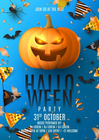 Happy Halloween party flyer invitation. Holiday poster with black spiders and bats, scary pumpkin, colorful garlands, serpentine and confetti on blue background. Invitation to nightclub.