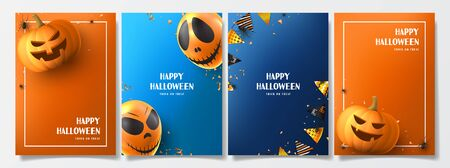 Set of Halloween holiday flyers. Holiday posters with realistic balloons, black spiders, scary pumpkins, colorful garlands, serpentine and confetti. Invitations to nightclub.