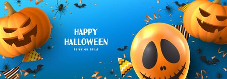 Happy Halloween sale banner. Holiday promo banner with spooky balloon, black spiders and bats, scary pumpkins, serpentine and confetti on blue background. Vector illustration. Ilustracja