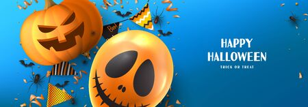 Happy Halloween sale banner template. Holiday promo banner with spooky balloon, black spiders and bats, scary pumpkin, serpentine and confetti on blue background. Vector illustration. Ilustracja