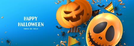 Happy Halloween sale promo banner. Holiday promo banner with spooky balloon, black spiders and bats, scary pumpkin, serpentine and confetti on blue background. Vector illustration. Illustration