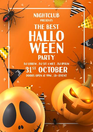 Happy Halloween party poster. Holiday promo banner with black spiders, scary pumpkin, colorful garlands, balloon, serpentine and confetti on orange background. Invitation to nightclub.