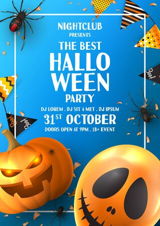 Happy Halloween party flyer. Holiday promo banner with black spiders, scary pumpkin, colorful garlands, balloon, serpentine and confetti on blue background. Invitation to nightclub.