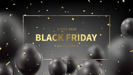 Black Friday sale promo banner. Realistic flying balloons with golden confetti on black background. Social media banner template. Promo discount offer. Vector illustration.