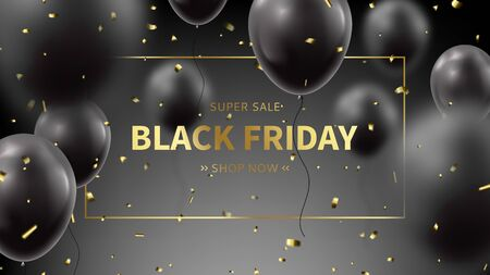 Black Friday sale web banner. Realistic flying balloons with golden confetti on black background. Social media banner template. Promo discount offer. Vector illustration. Ilustracja