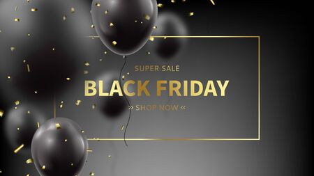Promo banner for Black Friday sale. Realistic flying balloons with golden confetti on black background. Social media banner template. Promo discount offer. Vector illustration. Ilustracja