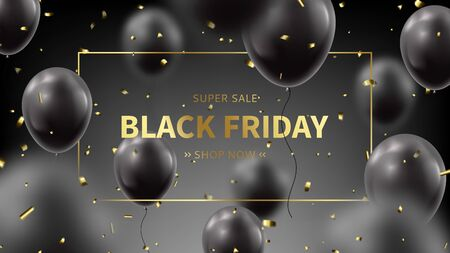 Black Friday sale advertisement banner. Realistic flying balloons with golden confetti on black background. Social media banner template. Promo discount offer. Vector illustration.