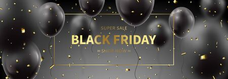 Black Friday sale horizontal banner. Realistic flying balloons with golden confetti on black background. Social media banner template. Promo discount offer. Vector illustration.