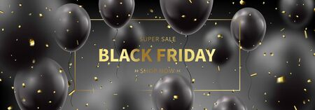 Black Friday sale horizontal promo banner. Realistic flying balloons with golden confetti on black background. Social media banner template. Promo discount offer. Vector illustration.