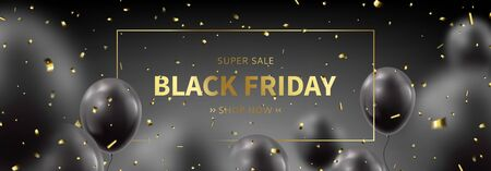 Horizontal banner for Black Friday sale. Realistic flying balloons with golden confetti on black background. Social media banner template. Promo discount offer. Vector illustration. Illustration