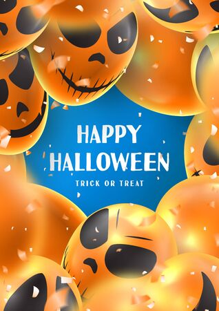 Happy Halloween party poster. Holiday promo banner with scary balloons and orange confetti on blue background. Invitation to nightclub.