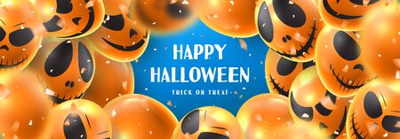 Happy Halloween sale horizontal banner. Holiday promo banner with spooky balloons and orange confetti on blue background. Vector illustration.