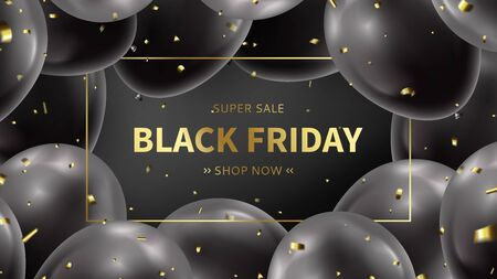 Black Friday sale web banner. Realistic balloons with golden confetti on black background. Social media banner template. Promo discount offer. Vector illustration.