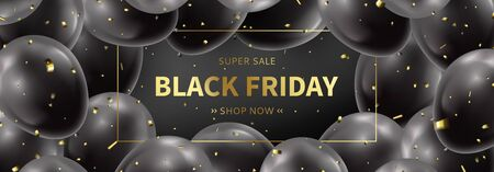 Black Friday sale horizontal banner. Realistic balloons with golden confetti on black background. Social media banner template. Promo discount offer. Vector illustration.