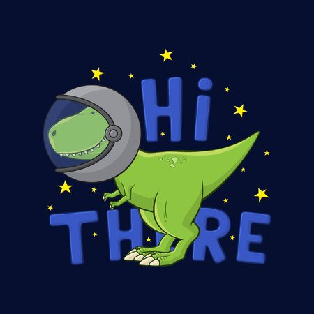 Cartoon Tyrannosaurus Rex in spacesuit. Cute dinosaur t-rex in spacesuit stands on dark blue background. T-shirt print design for kid clothes. Vector illustration.