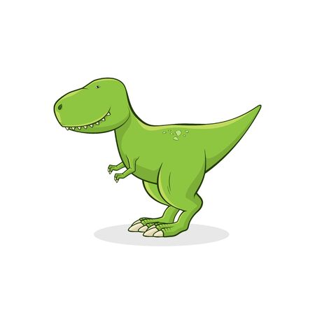 Cute Tyrannosaurus Rex isolated on white background. Funny dinosaur t-rex stands on white background. T-shirt print design for kid clothes. Vector illustration.