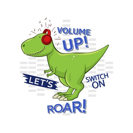 Funny Tyrannosaurus Rex isolated on white background. Cute dinosaur t-rex stands on white background and listens to music in red headphones. T-shirt print design for kid clothes. Vector illustration.