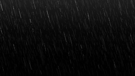 Falling raindrops isolated on black background. Falling water drops texture. Realistic rain. Vector illustration. Ilustracja