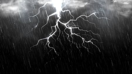 Falling raindrops isolated on black background. Falling water drops texture. Realistic rain with clouds, fog and lightning. Vector illustration.