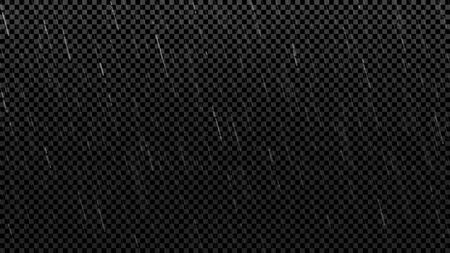 Falling raindrops texture template. Falling water drops isolated on checkered background. Realistic rain. Vector illustration.