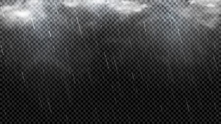 Falling raindrops texture template. Falling water drops isolated on checkered background. Realistic rain with clouds and fog. Vector illustration.