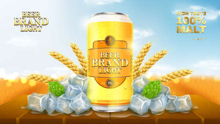 Light beer ads template. Promo banner with light beer can, hops, wheat and ice on wooden table. Vector illustration with wheat field on background. Illustration