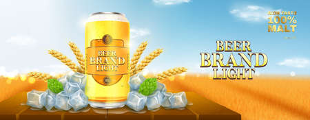 Light beer ads template. Promo banner with light beer can, hops, wheat and ice on wooden table. Vector illustration with wheat field on background. Zdjęcie Seryjne - 151512268