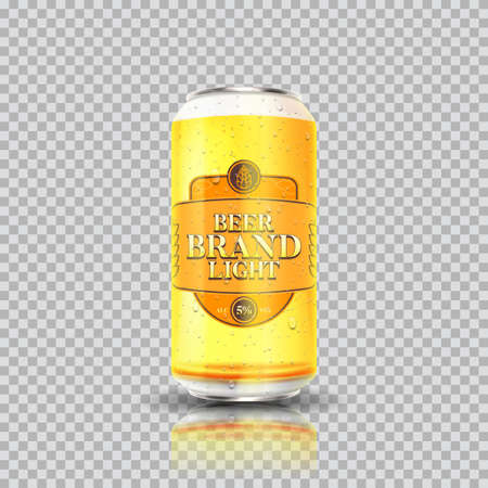 Light beer can template. Vector illustration with light beer can isolated on checkered background. Realistic 3d illustration.