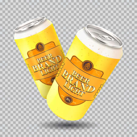 Light beer cans template. Vector illustration with light beer can isolated on checkered background. Realistic 3d illustration.