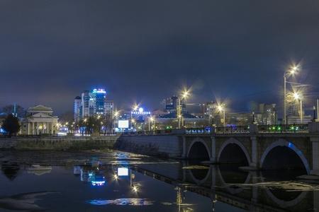 chelyabinsk: Night city chelyabinsk Stock Photo
