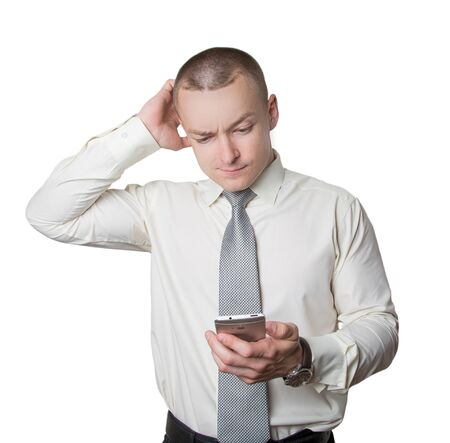 wistful: male businessman with phone Stock Photo