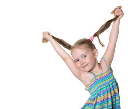 promotes: cheerful little girl with pigtails