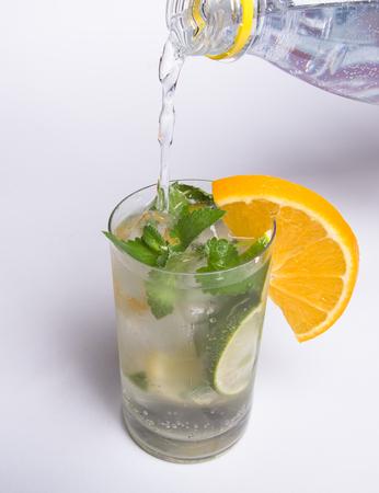 invigorating: invigorating soda pouring into a glass Stock Photo