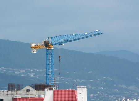 tower crane: blue tower crane on