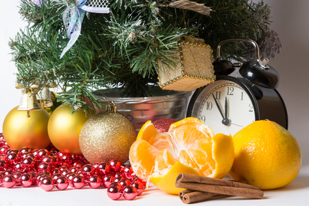 christmas atmosphere: christmas atmosphere and clock Stock Photo