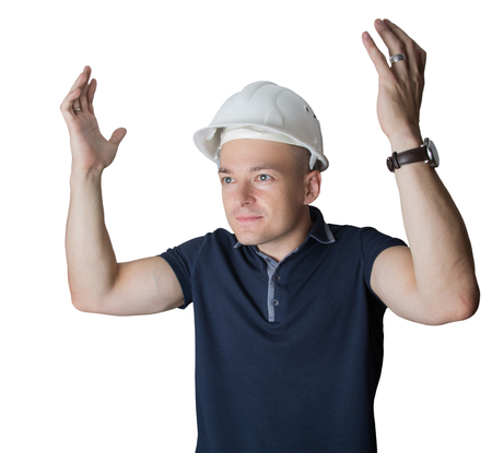 outraged: male construction worker outraged Stock Photo