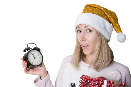 snow maiden: nice snow maiden with clock and toys Stock Photo
