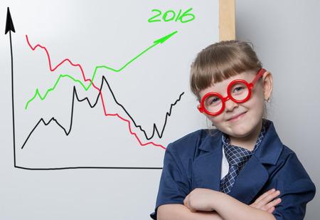 explains: leader explains the graphics Stock Photo